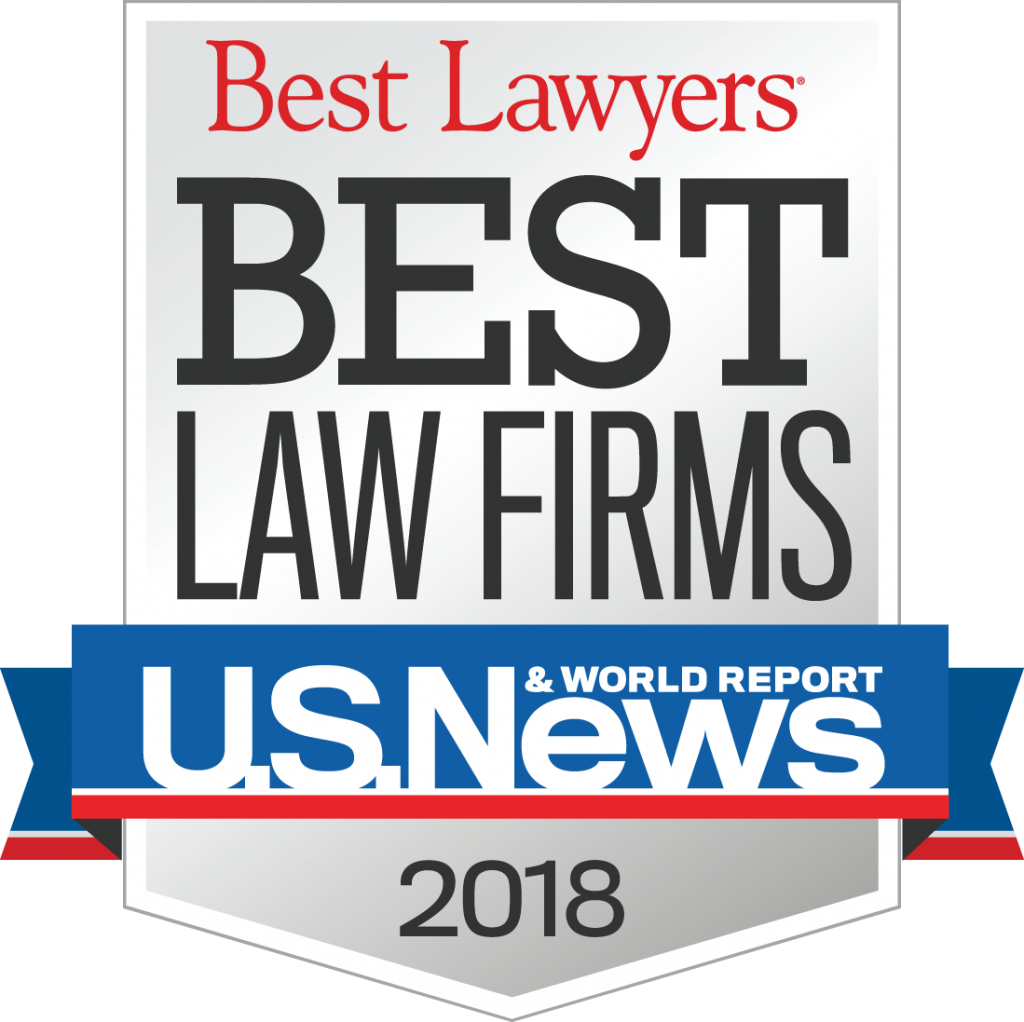 Best Law Firms 2018 Badge provided by US News/Best Lawyers for the firm's inclusion as a Best Law Firm for Family Law and Bankruptcy.