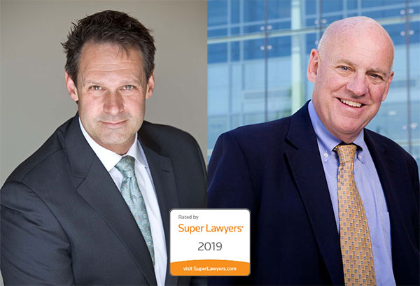 Collage image of Dave Hillier and Patrick McCroskey for their blog post regarding their inclusion in 2019 Super Lawyers