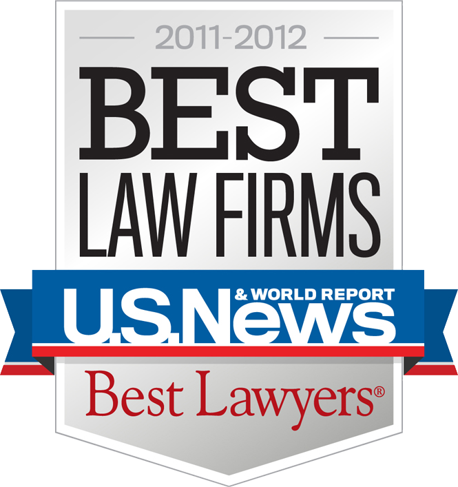 Best Law Firms 2011-2012 Badge provided by US News/Best Lawyers for the firm's inclusion as a Best Law Firm for Family Law and Bankruptcy. This was Best Law Firm's inaugural class.