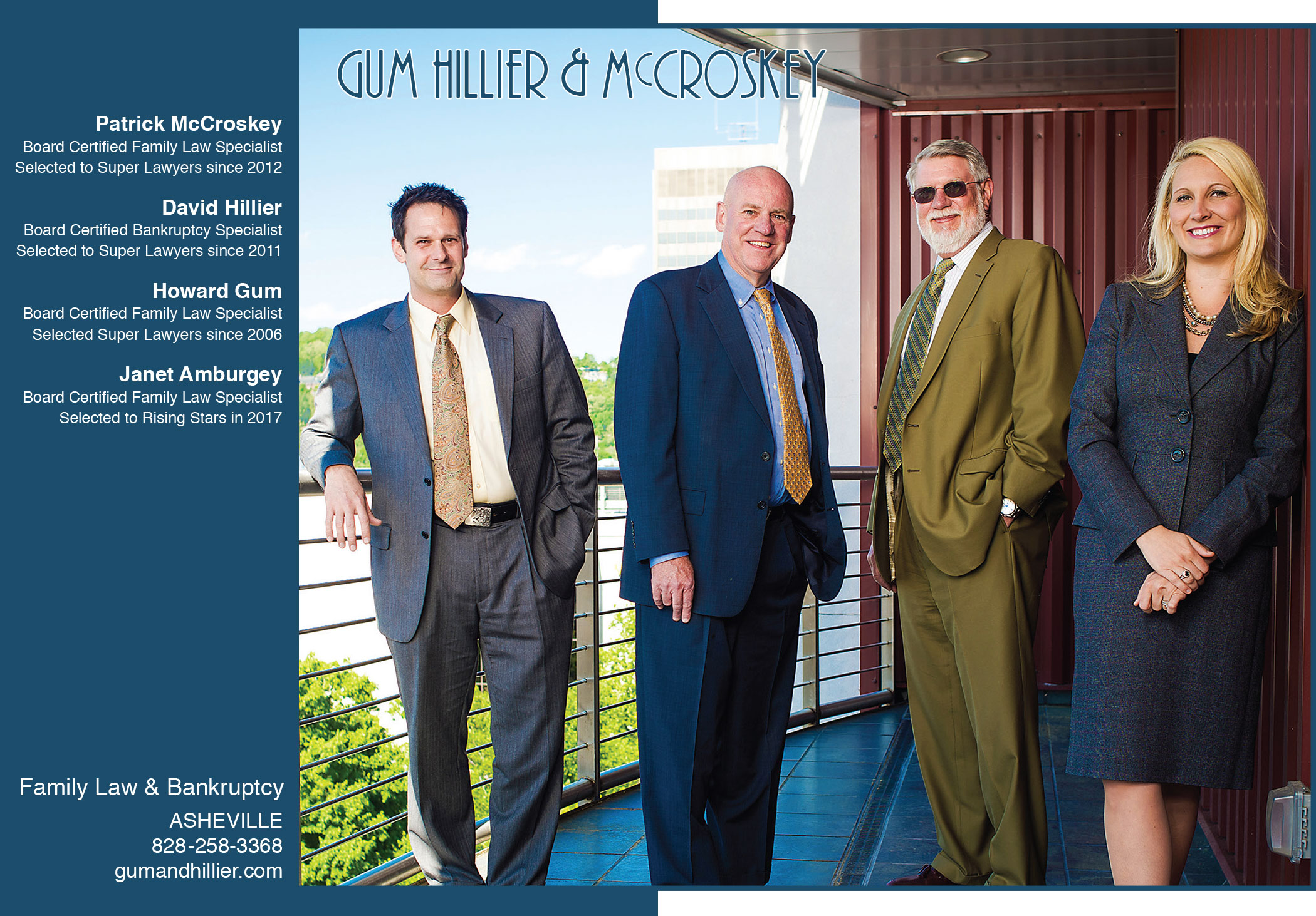 Advertisement image of Gum, Hillier & McCroskey's 2017 Super Lawyers Magazine Ad celebrating Janet Amburgey's first appearance on the list. Image taken on a balcony at one of the hotels in downtown Asheville.