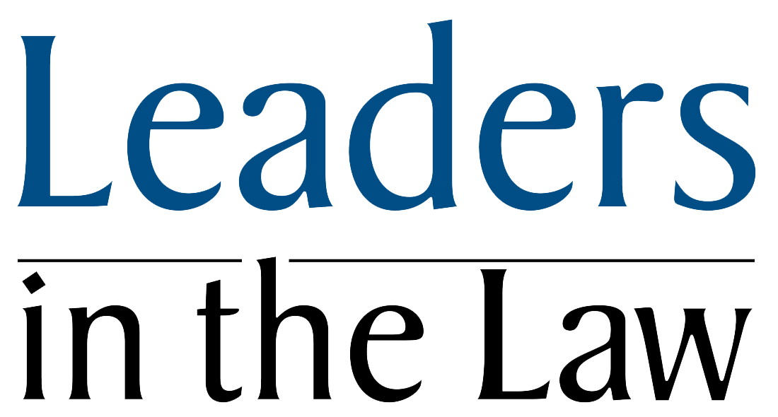 "Graphic image of Business North Carolina's ""Leaders in the Law"" Award badge."