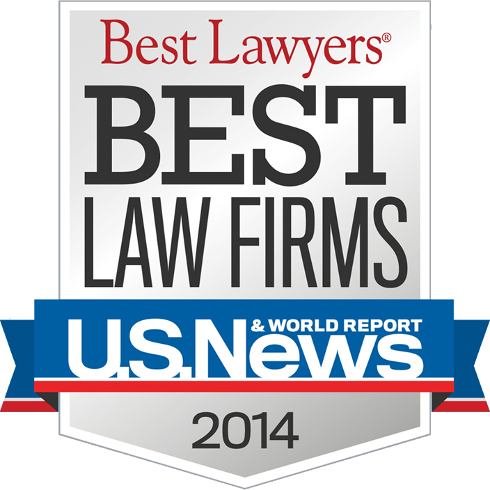 Best Law Firms 2014 Badge provided by US News/Best Lawyers for the firm's inclusion as a Best Law Firm for Family Law and Bankruptcy.