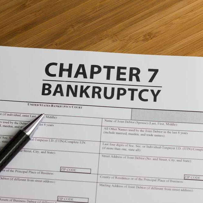 Image of a Chapter 7 Bankruptcy filing form representing one of the several bankruptcy filing selections available to businesses and individuals