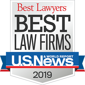 Graphic image of the US News/Best Lawyers Best Law Firms Badge for 2019. GHMA LAW was included in both the Family Law Section and the Bankruptcy Section in 2019.