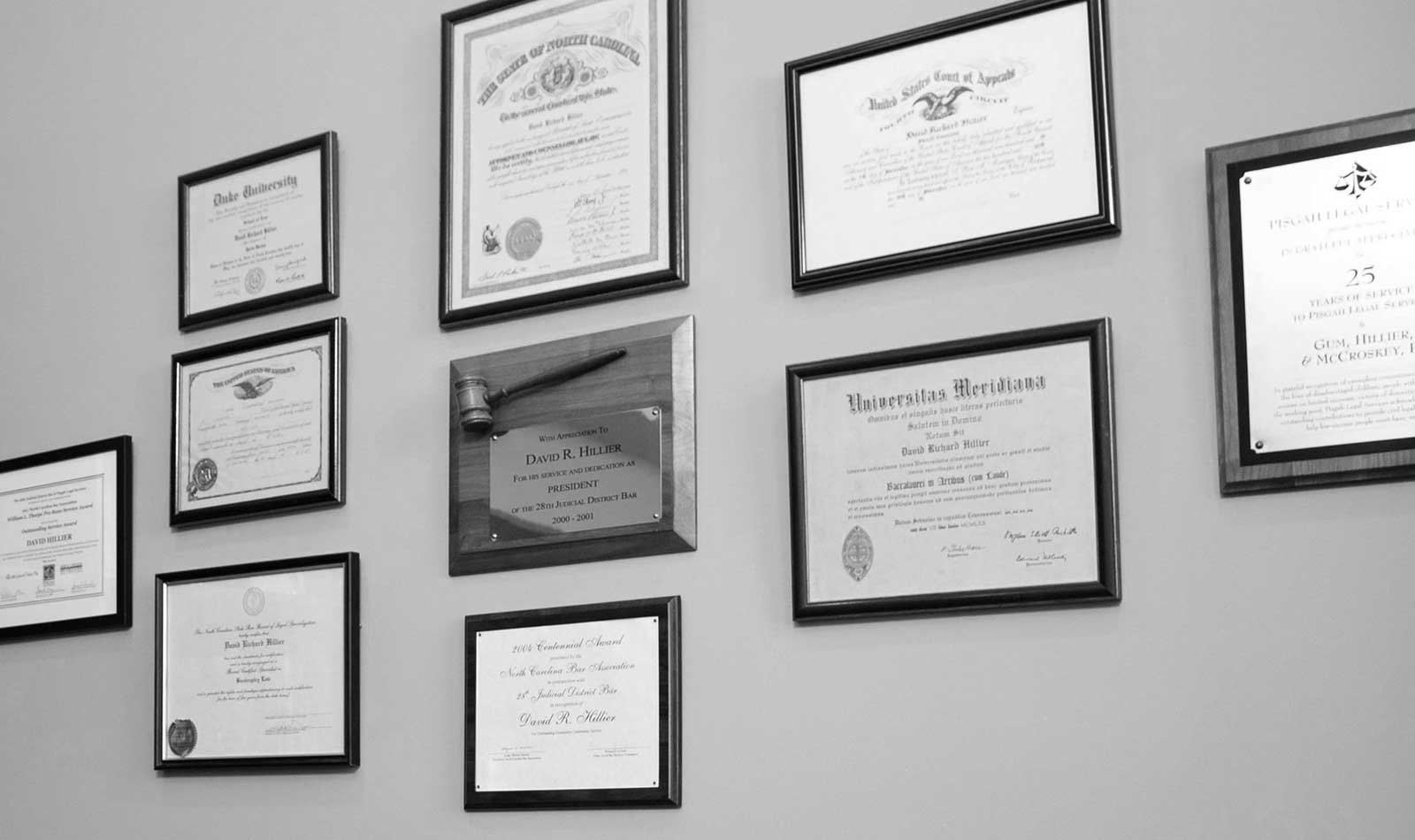 Black and white photo for of David R. Hillier's credentials and awards.