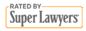Badge depicting logo for Super Lawyers, a lawyer rating service,
