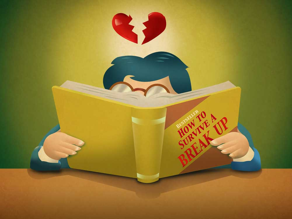 Vector drawing of man with a broken heart floating over his head behind a book entitled tips for surviving a breakup